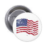 American Flag Waving - Distressed Pinback Button