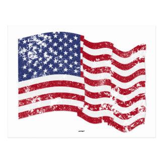 American Flag Waving - Distressed Post Card