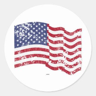 American Flag Waving - Distressed Sticker