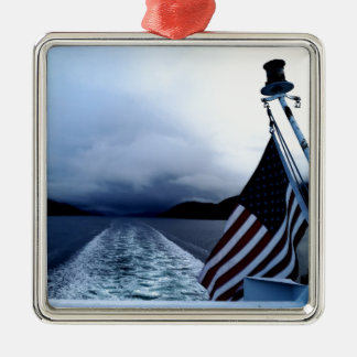 American Flag Waving From Boat Alaska Christmas Ornament