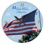 American Flag waving in the breeze- customize Clocks