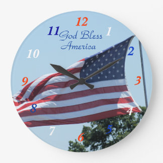 American Flag waving in the breeze- customize Large Clock