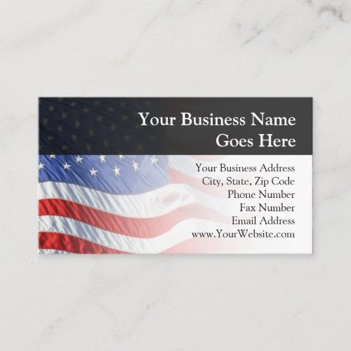 American Flag Waving in Wind Business Card