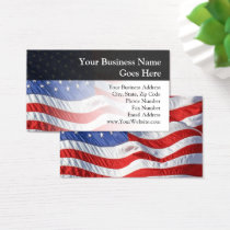 American Flag, Waving in Wind Business Card