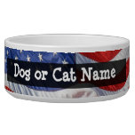 American Flag, Waving in Wind Dog Water Bowl