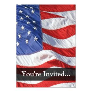 "American Flag, Waving in Wind 5"" X 7"" Invitation Card"