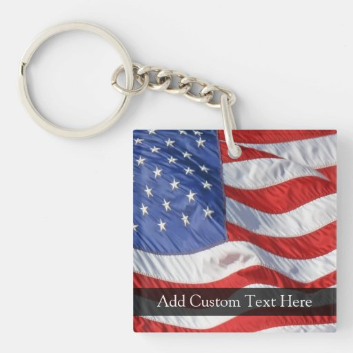 American Flag, Waving in Wind Double-Sided Square Acrylic Keychain