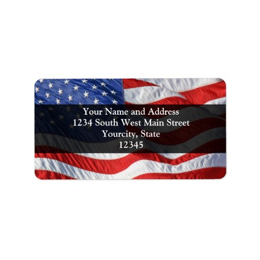 American Flag, Waving in Wind Personalized Address Label