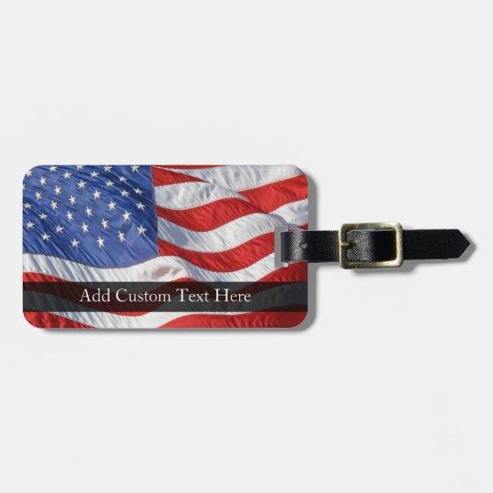 American Flag, Waving in Wind Luggage Tag