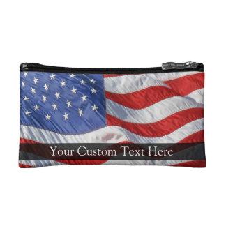 American Flag, Waving in Wind Makeup Bags