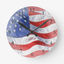 American Flag, Waving in Wind Round Clock