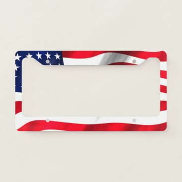 USA Themed American Flag Waving License Plate Frame