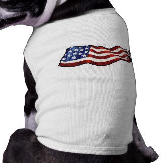 American Flag Waving Patriotic Doggie Tee