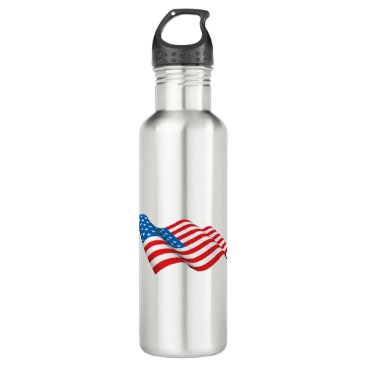 American Flag waving Stainless Steel Water Bottle