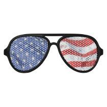 American Flag Waving Stars and Stripes USA Aviator Sunglasses