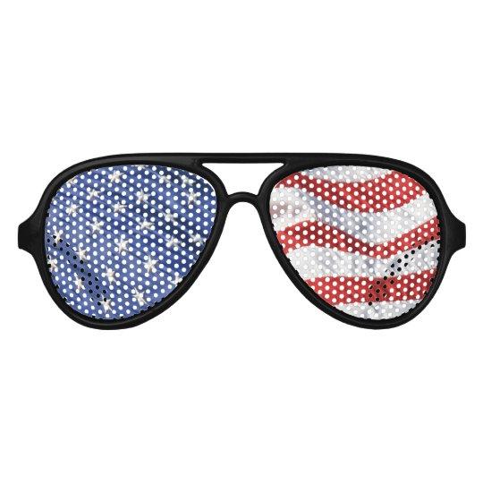 Wavy American flag graphic print black framed wayfarer sunglasses