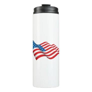 American Flag waving Thermal Tumbler