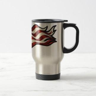 American Flag Waving Thermo Mug