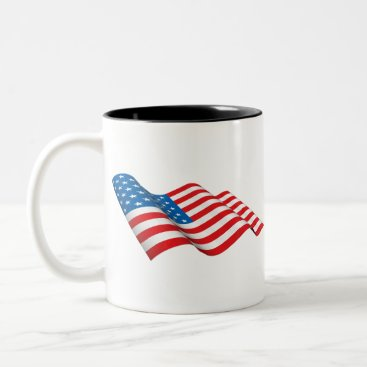 American Flag waving Two-Tone Coffee Mug