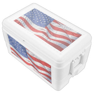 American Flag Waving Wind Patriotic USA Cooler