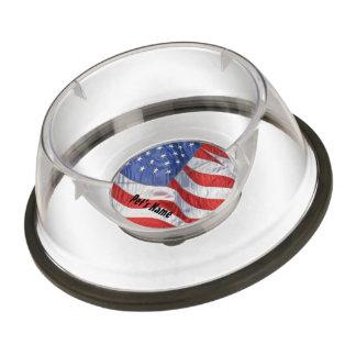 American Flag Waving Wind Patriotic USA Pet Bowl