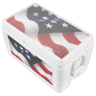 American flag wavy chest cooler