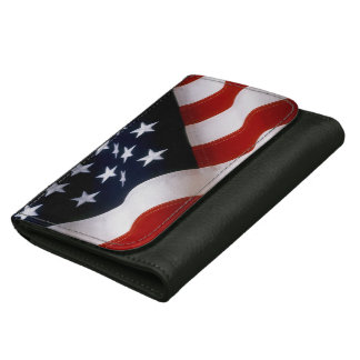 American flag wavy leather wallet for women