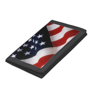 American flag wavy trifold wallet