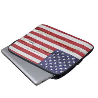 American Flag Weathered Paint Computer Sleeve