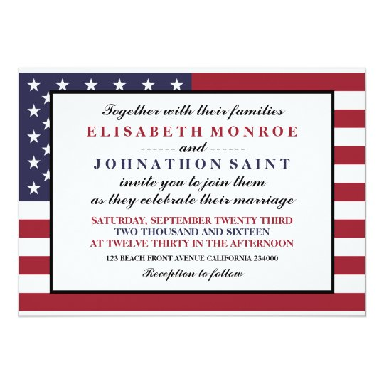 american flag wedding invitation zazzle com