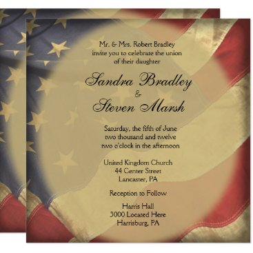 USA Themed American Flag Wedding Invitations