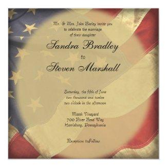 "American Flag Wedding Invitations 5.25"" Square Invitation Card"