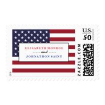 American Flag Wedding Postage