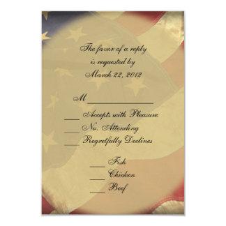 American Flag Wedding RSVP 3.5x5 Paper Invitation Card