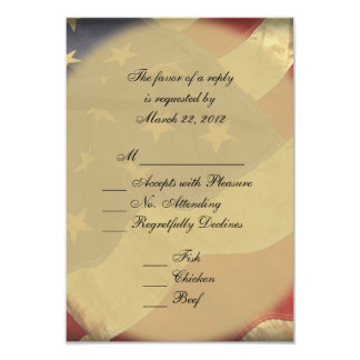 American Flag Wedding RSVP Card