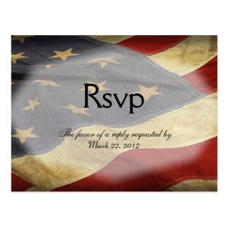 American Flag Wedding RSVP Dinner Choices Postcard