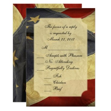 USA Themed American Flag Wedding RSVP with Menu Card