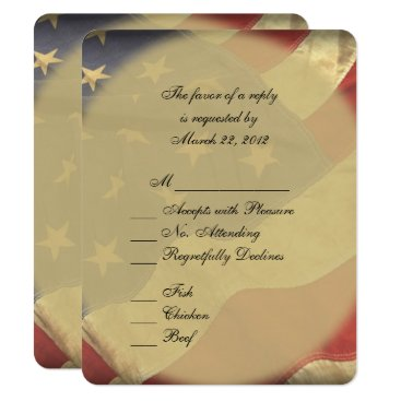 USA Themed American Flag Wedding RSVP with Menu Choices Card