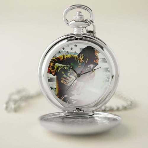 American Flag Welder Pocket Watch