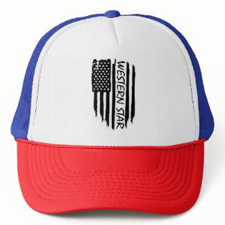 American flag Western Star big rig 18 wheeler Trucker Hat