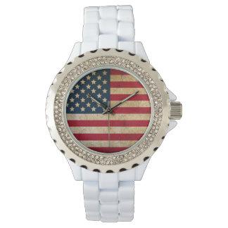 American Flag White Enamel Watch