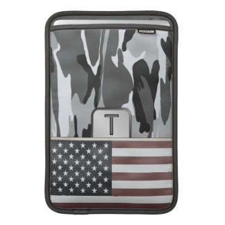 American Flag Winter Camo MonoGram MacBook Air Sleeve
