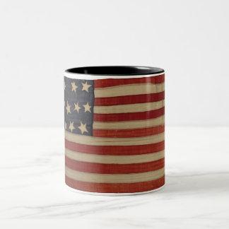American Flag with 13 Stars Two-Tone Coffee Mug