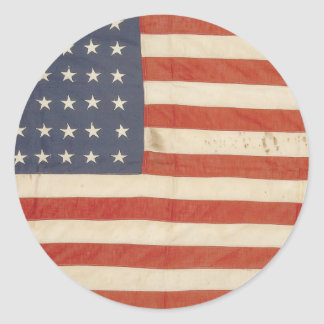 American Flag with 48 Stars Classic Round Sticker