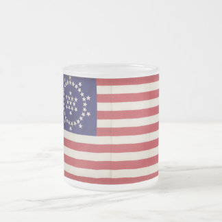 American Flag with 48 Stars Whipple 10 Oz Frosted Glass Coffee Mug