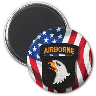 American Flag with a101st Airborne Patch Magnet