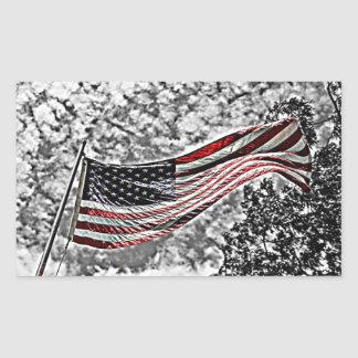American Flag with a Black and White Background Rectangular Sticker