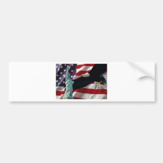 American Flag with American Eagle & Lady Liberty Bumper Sticker