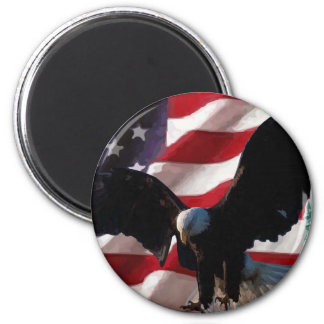 American Flag with American Eagle & Lady Liberty Magnet