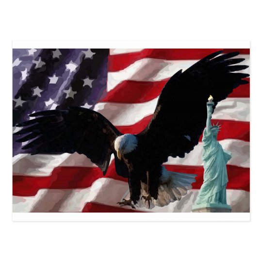 American Flag with American Eagle & Lady Liberty Postcard
